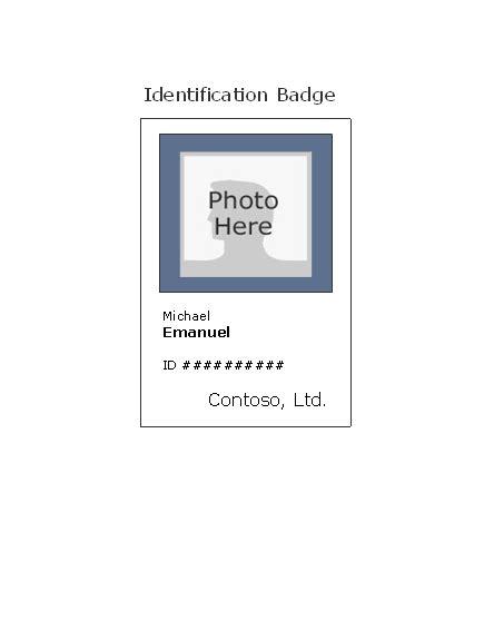 Employee Photo Id Badge Portrait Work Id Card Template