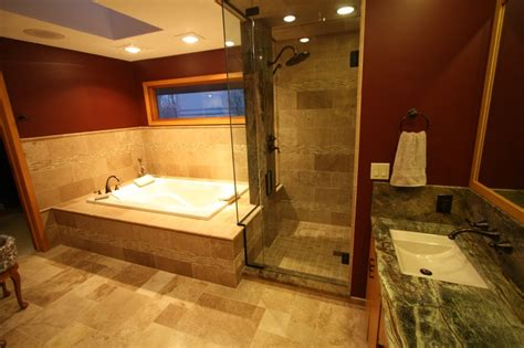 exotic bathrooms master bathroom with travertine tile and exotic granite