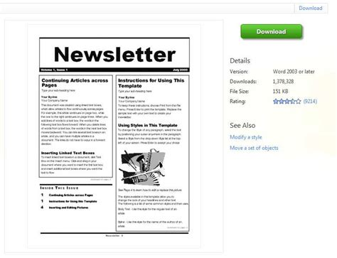 microsoft office newsletter templates free free classroom newsletter templates for microsoft word