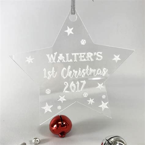 personalised 1st christmas perspex star decoration by