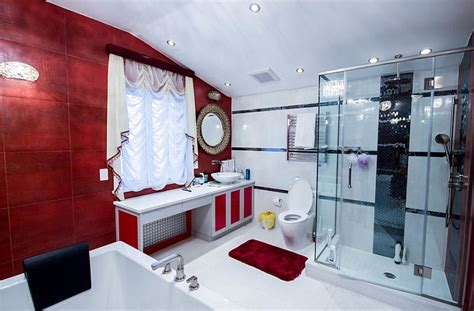 dark red bathroom glamorous nyc bathroom in red black and white decoist
