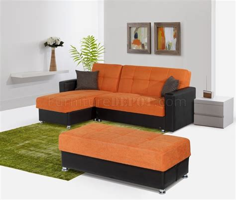 lego sectional sofa convertible in orange microfiber by