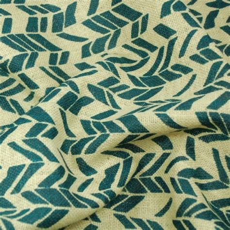 patterned hessian fabric printed navy funky chevron woven natural burlap jute