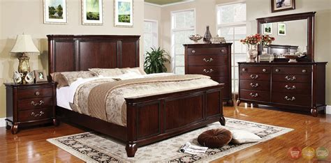 Large Bedroom Furniture Sets Claymont Traditional Cherry Bedroom Set With Large Raised Panel Headboard Cm7258