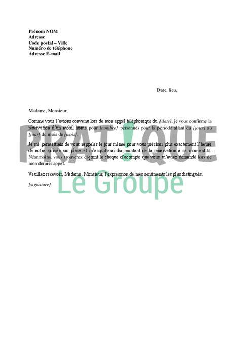 Exemple De Lettre Reservation Hotel Lettre Confirmation De R 233 Servation D Une Location De Mobil Home Pratique Fr