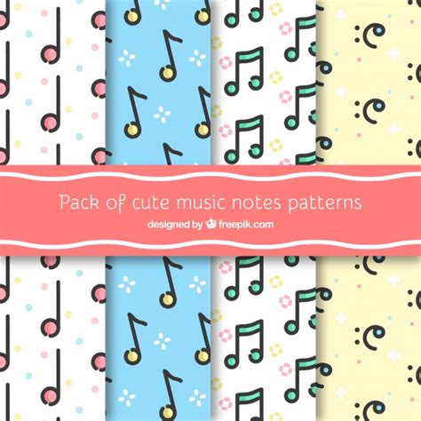 cute music pattern pack of cute music notes patterns vector free download