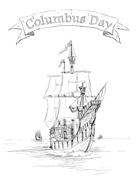 free coloring pages of santa maria ship