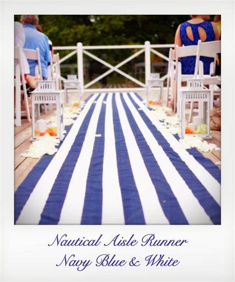 Navy Wedding Aisle Runner by Navy Blue And White Striped Nautical Aisle Runner