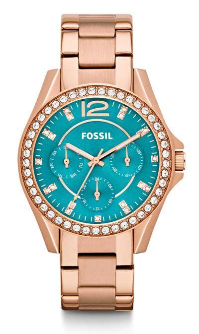 Fossil Rilley Stainless Blue Es4294 fossil multifunction stainless steel everything turquoise seasons fossil and