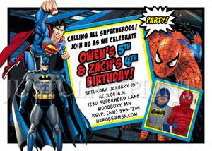 superman superpowers card template superheroes batman superman birthday invitation