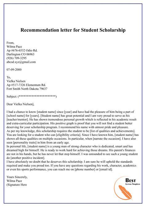 recommendation letter student format sample