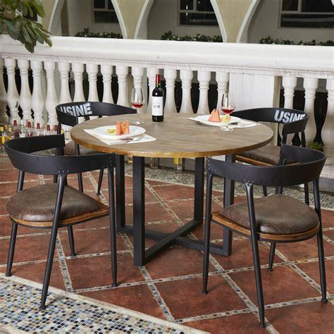negara amerika meja makan kayu kayu antik minimalis barat roundtable meja makan besi tempa
