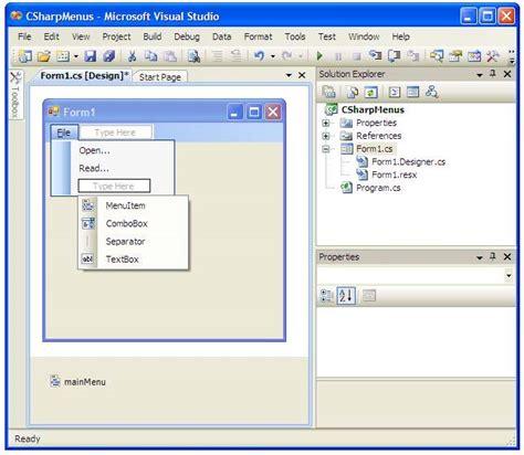 design menu in visual studio creating top level menus in c sharp techotopia