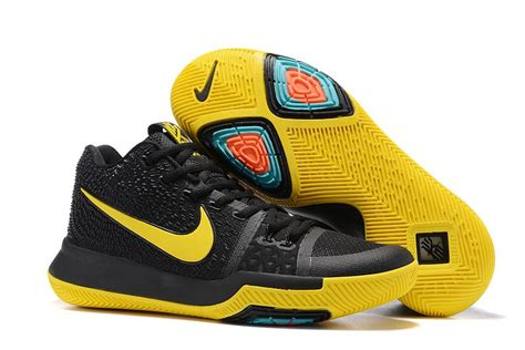 black and yellow nike basketball shoes nike kyrie 3 basketball shoes black and yellow for sale