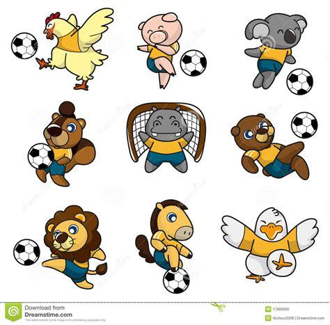 imagenes animales haciendo ejercicio djur fotboll f 246 r tecknad filmsymbolsspelare arkivfoto