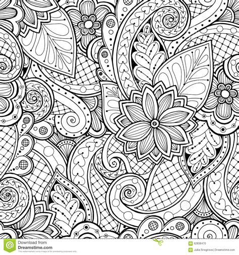 seamless doodle pattern free vector seamless background in vector with doodles flowers and