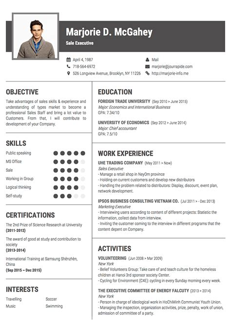 Pro Resume Template by Professional Resume Cv Templates With Exles Topcv Me