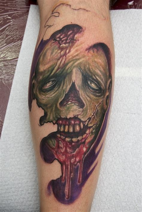 zombie tattoo on leg by graynd tattooimages biz freestyle zombie tattoo tattooimages biz