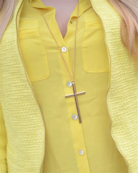 Yellow Sapphire Blouse lemon yellow blazer with white raindrops of sapphire