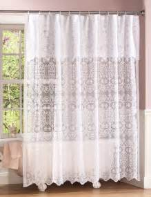 new white lace shower curtain w attached