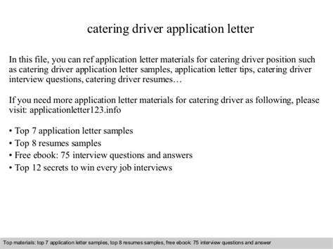 application letter driver position catering driver application letter