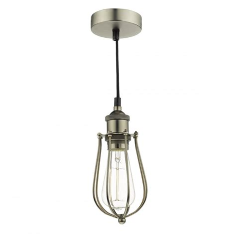 Cage Pendant Light Vintage Style Cage Frame Ceiling Pendant In A Pewter Finish