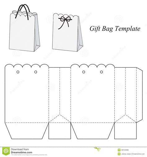 handbag gift box template interesting gift bag template stock vector image 48154685