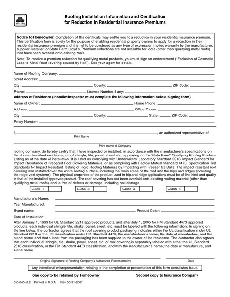 roof certification form template 10 best images of roofing certificate template