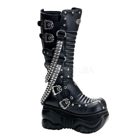 rocker boots for demonia cyber 4 quot platform studded chain buckle rocker