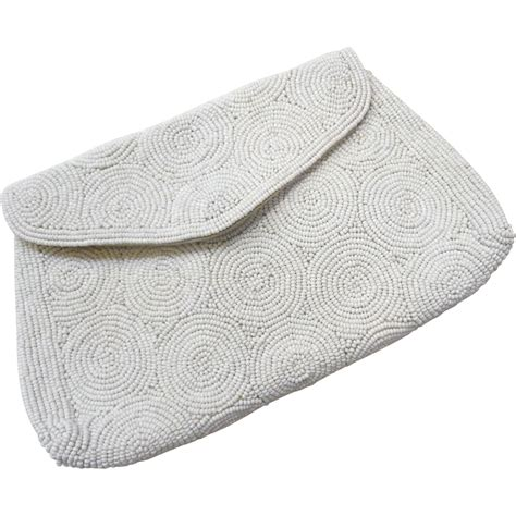 Beaded Evening Clutch vintage white beaded evening clutch purse from bejewelled