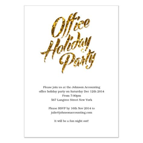 gold sparks office holiday party invitations cards on