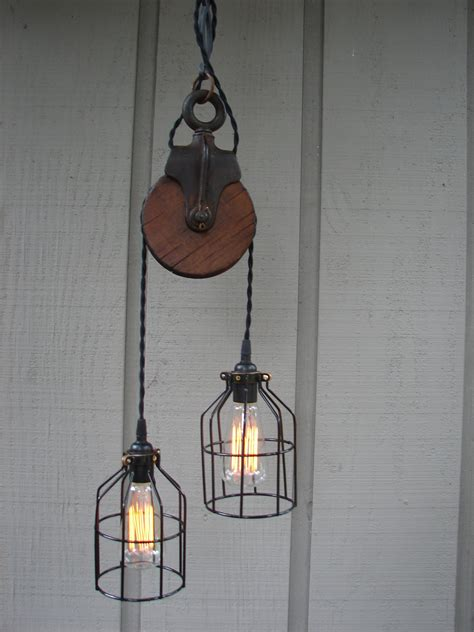 Upcycled Vintage Farm Pulley Lighting Pendant With Bulb Cages Pulley Pendant Lighting