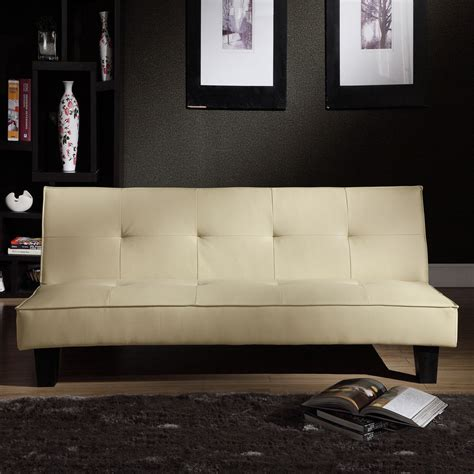 mini futon sofa bed convertible home bento beige faux leather modern mini