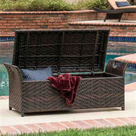 outdoor wicker storage bench outdoor wicker storage bench home furniture design