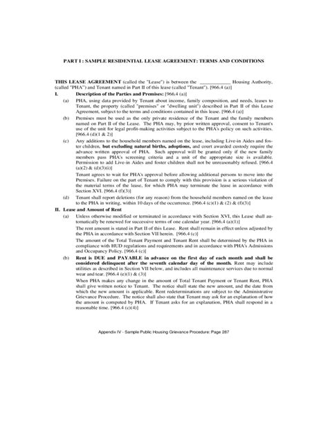 housing agreement template sle housing authority lease agreement free