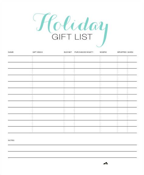 Holiday Gift List Templates 9 Free Word Pdf Format Present List Template