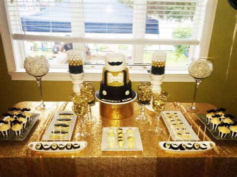 Gentleman Baby Shower by Gentleman S Baby Shower Cake Table Black Gold