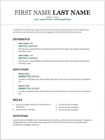 11 Free Resume Templates You Can Customise In Microsoft Phrase Resume Template On Microsoft Word