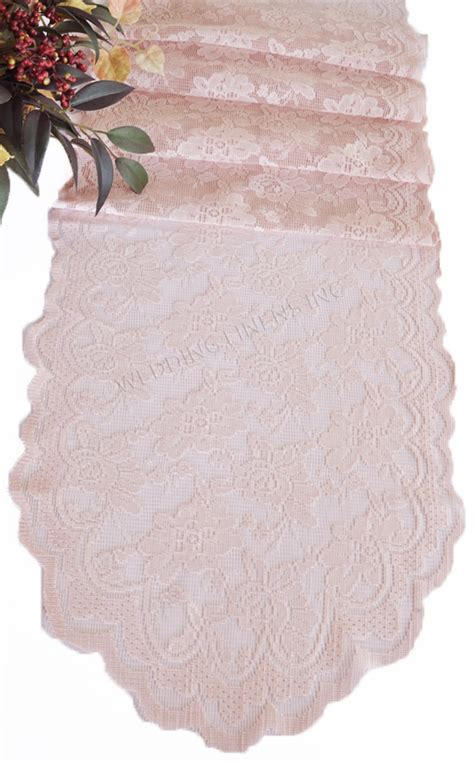 blush pink lace table runners wedding