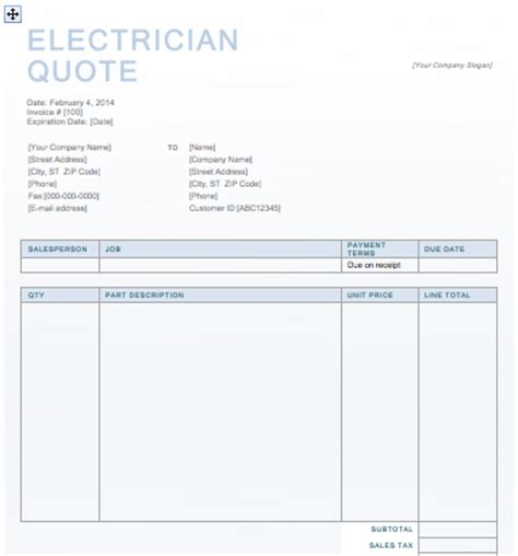 Electrician Quotation Template Quote Template Microsoft Word Quote Template