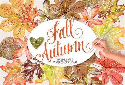 fd 120 card cutter template watercolor autumn leaves fall clip design bundles