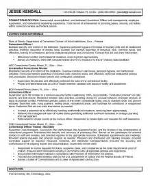 exle corrections officer resume free sle
