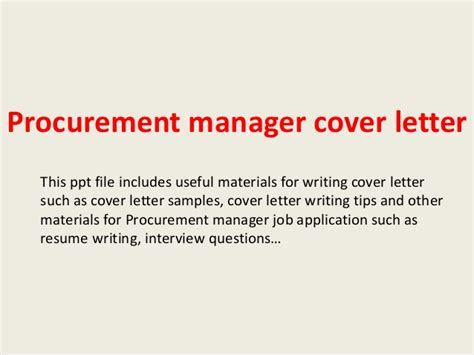 Purchasing Administrator Cover Letter by Procurement Manager Cover Letter