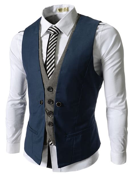 Vest Rompi Blue Pria blue business layered vests clothing mannequin