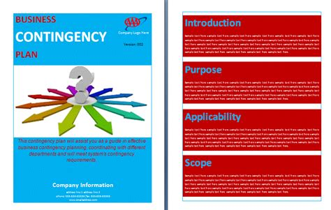 contingency plan template contingency plan template word templates
