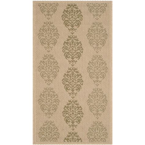 Safavieh Courtyard Natural Olive 2 Ft X 3 Ft 7 In Outdoor Rugs Home Depot