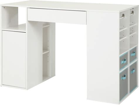 Counter Height Computer Desk by Sewing Machine Table Desk Storage Counter Height Craft Hobby White Finish New Ebay
