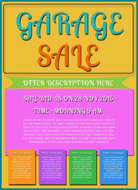 handout template free printable garage sale flyers templates attract more