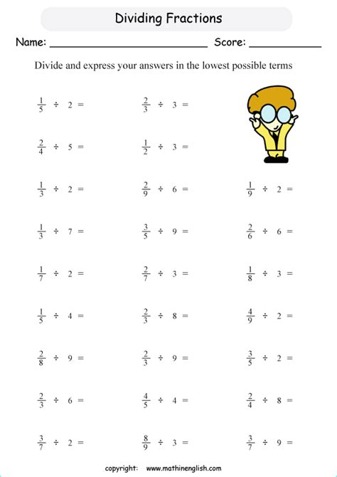 Whole Numbers Divided By Fractions Worksheet by Divide Fractions By Whole Numbers Math Worksheet For Grade