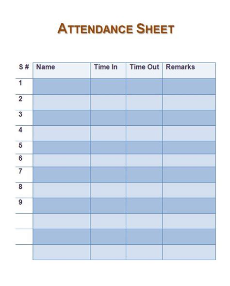 38 Free Printable Attendance Sheet Templates Free Template Downloads Time And Attendance Templates Free